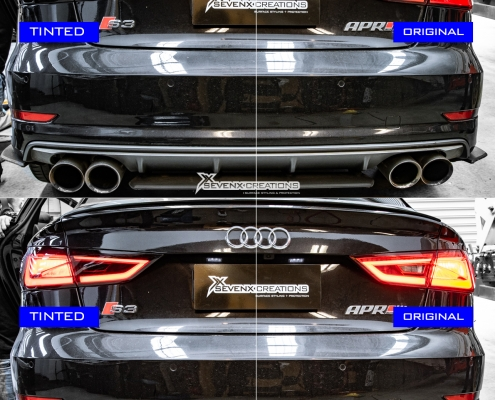 Audi S3 Dyno Smoke headlight tint with vivid light tint 15