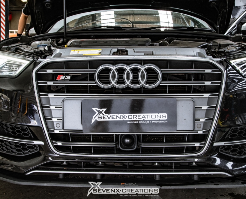 Audi S3 Dyno Smoke headlight tint with vivid light tint 20