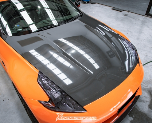 Nissan 370z stek dyno smoke headlight tint with vivid light tint 3