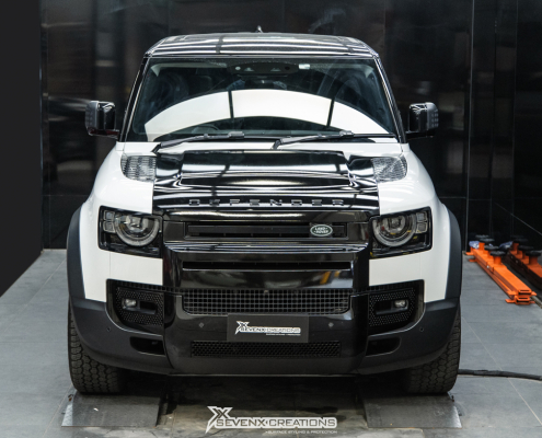 Land Rover Defender Bonnet and Top section Gloss Black Wrap tuned web